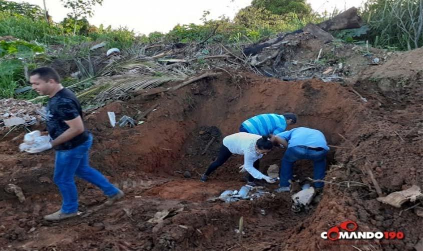 Vereadores de Castanheiras desenterram medicamentos em terreno baldio
